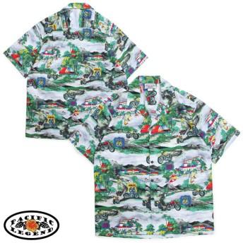 パシフィック レジェンド Pacific legend アロハシャツ メンズ ハワイ製 HAWAIIAN SHIRTS グレー 410-3914