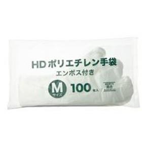 (まとめ)HDポリエチレン ディスポ手袋 M 100枚入×10パック