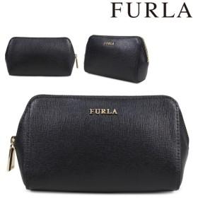 フルラ FURLA ポーチ コスメポーチ レディース ブラック ELECTRA M COSMETIC CASE 822984