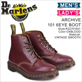 ドクターマーチン 6ホール メンズ レディース Dr.Martens ブーツ ARCHIVE 101 6EYE BOOT R22701601 レッド