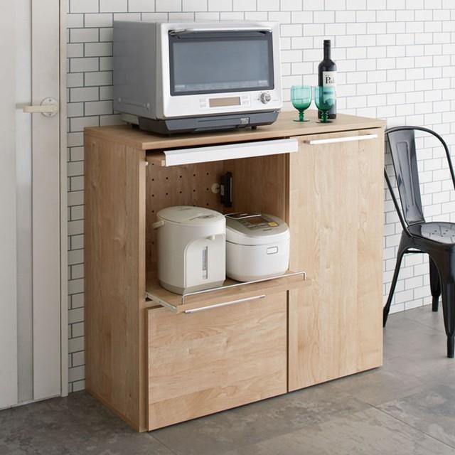天然木調隠せる家電収納キッチンカウンター 奥行45.5cm 689803