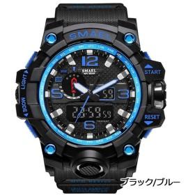 SMAEL オシャレ アナデジ 腕時計 メンズ 男性 アラーム クロノグラフ 多機能 スポーツウォッチ (ブラック ブルー)
