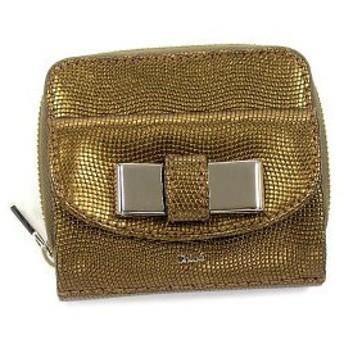 クロエ chloe 二つ折り財布 小銭入 lily 3p0503 square zipped wallet gold go