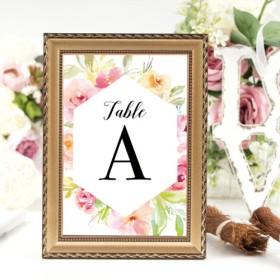 【5枚セット】Feminine Floral テーブルナンバー 結婚式