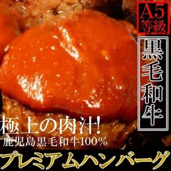 極上の肉汁!プレミアム A5ランク鹿児島黒牛100%プレミアムハンバーグ 130g×5個[A冷凍]