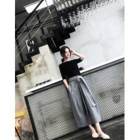 [55555SHOP] 買い逃し注意 韓国ファッション 細身 2点セット CHIC ワイドレッグパンツ