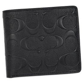 コーチ coach 二つ折り財布 小銭入 74922 signature corssgrain coin wallet black bk