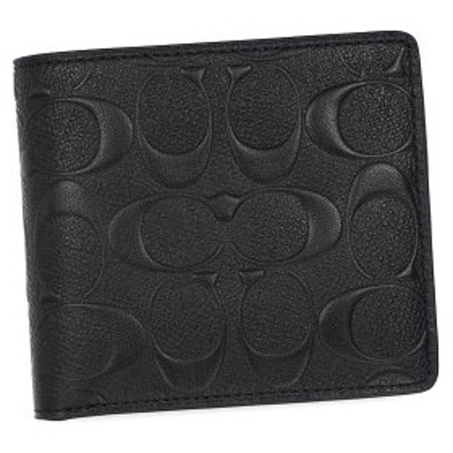 コーチ coach 二つ折り財布 小銭入 74922 signature corssgrain coin wallet black bk