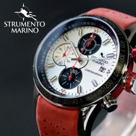 ストルメントマリーノ STRUMENTO MARINO アドミラル クロノ ダイバーズ メンズ 腕時計 SM110-L-SS-BN-RS ホワイト