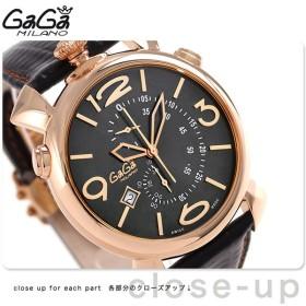 15日なら全品5倍以上でポイント最大25倍 ガガミラノ シン クロノグラフ 46MM スイス製 メンズ 5098.02BK GaGa MILANO 腕時計 革ベルト