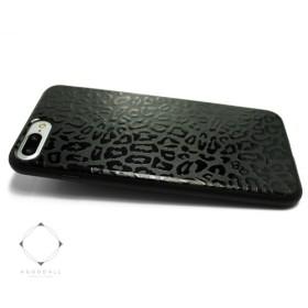 2395c049ea iphone7plusケース/iphone8plusカバー 特殊グロス加工 レザーケースカバー(レオパード×ブラック)