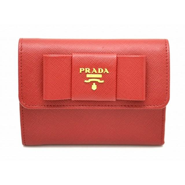 e283d1010880 (財布)PRADA プラダ リボン モチーフ 3つ折 財布 型押しレザー SAFFIANO FIOCCO 赤