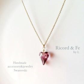 【再販】14kgf×SWAROVSKI ︎Antique pink heart necklace