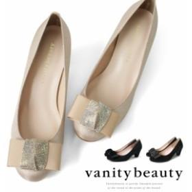 結婚式 パンプス ヒール5cm ベロア スエード ローヒール ハイヒール リボン ラウンドトゥ レディース (1657) 靴 【送料無料】