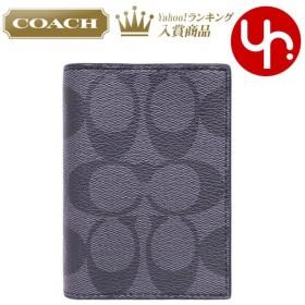 コーチ COACH 小物 カードケース F12025 チャコール×ブラック シグネチャー PVC レザー ビルフォード カード ケース アウトレット メンズ レディース