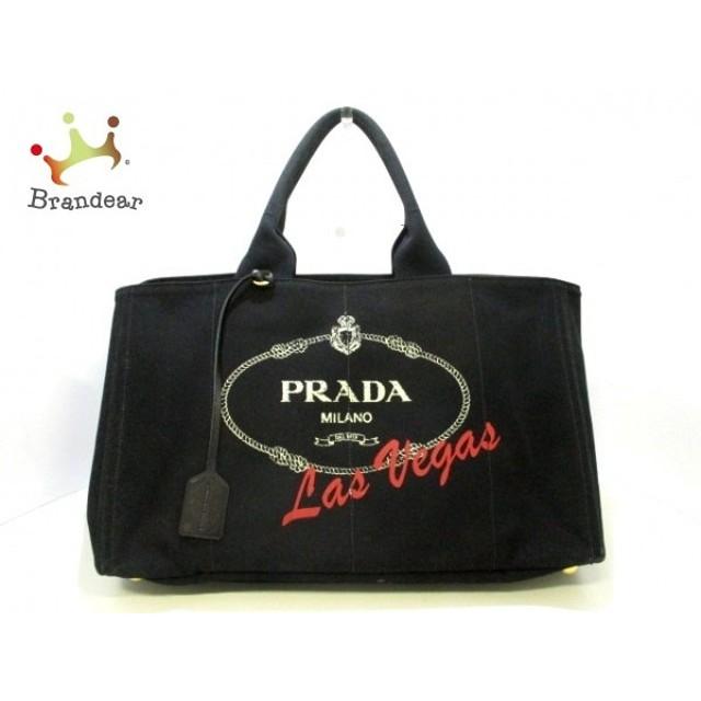 3f4c2f692250 プラダ PRADA トートバッグ CANAPA 黒×白×レッド LIMITED EDITION/ラスベガス キャンバス スペシャル