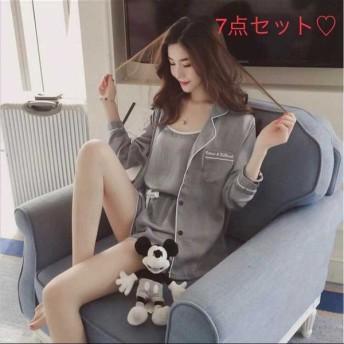 ルームウェア7点セット 巾着袋付き パジャマ ナイトウェア <br />上下セット 部屋着 可愛い グレーライト
