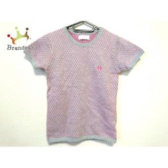 フレッドペリー FRED PERRY 半袖セーター サイズ36 M レディース 美品 ライトグレー×ピンク スペシャル特価 20190429