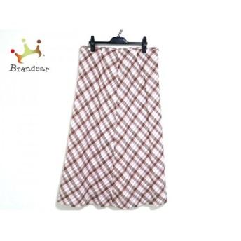 ジユウク 自由区/jiyuku スカート レディース 美品 白×ピンク×マルチ チェック柄                 スペシャル特価 20200303