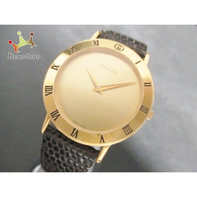 a7f676884a グッチ GUCCI 腕時計 美品 3000.2.M メンズ 型押し加工/革ベルト ゴールド