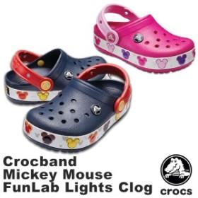 クロックス(CROCS) クロックバンド ミッキー ファン ラブ ライツ キッズ(crocband Mickey Fun Lab Lights Clog) サンダル[AA]【20】