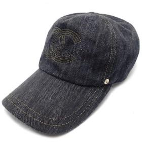 c52cec2f0b32 (アパレル)CHANEL シャネル ココマーク キャップ 帽子 コットン100% デニム インディゴブルー ゴールド