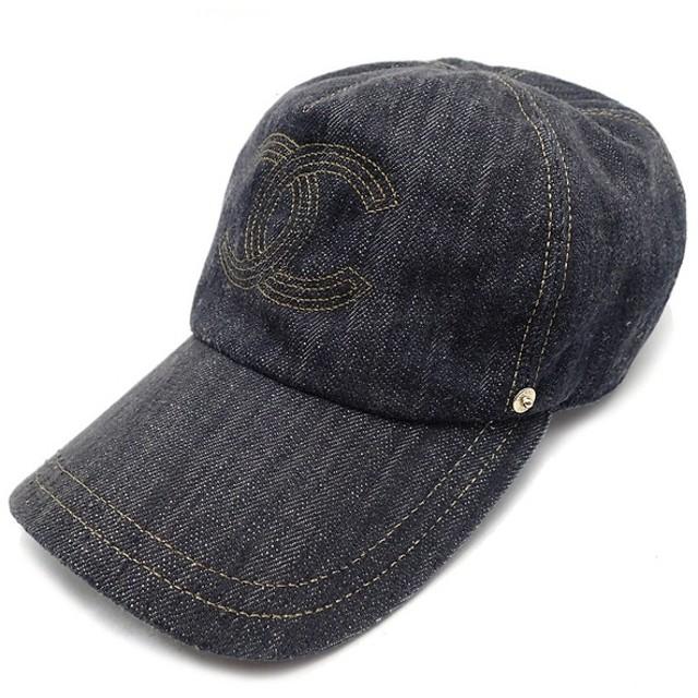 5b3a9e603ee7 (アパレル)CHANEL シャネル ココマーク キャップ 帽子 コットン100% デニム インディゴブルー ゴールド