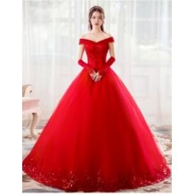 HS203 ウェディングドレス ブライダル.イブニング.ロングドレス..プリンセス.発表会 白/赤ドレス 大きいサイズ~7L