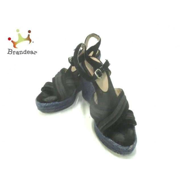 カスタニエール CASTANER サンダル 38 レディース 黒 ウェッジソール 化学繊維     スペシャル特価 20190428