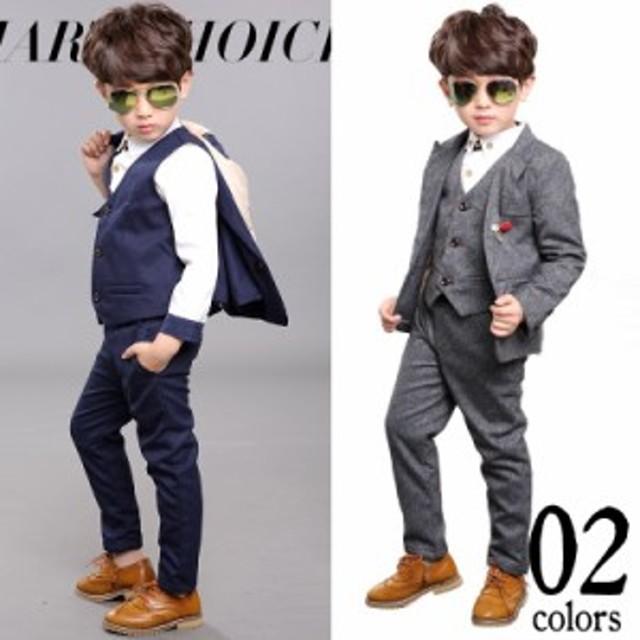 6abaf5d38236b スーツ 子供 男の子 スーツ 5点セット ジャケット パンツ ベスト シャツ フォーマル 七五三 入園式 卒