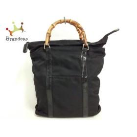 グッチ GUCCI ハンドバッグ バンブー - 黒×ブラウン ナイロン×ウッド           スペシャル特価 20190418