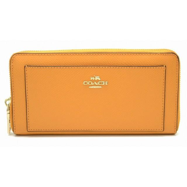 7ef8d5904bd5 (財布)COACH コーチ クロスグレイン レザー ジップアラウンド ラウンドファスナー 長財布 レザー オレンジ