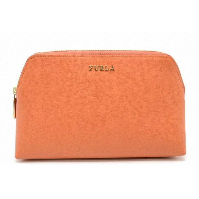 (バッグ)FURLA フルラ ポーチ 3点セット コスメポーチ 型押しレザー オレンジ ライトベージュ ベージュ (k)