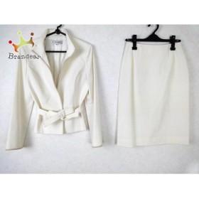 エムズグレイシー M'S GRACY スカートスーツ サイズ38 M レディース 白×ライトブラウン       スペシャル特価 20190324