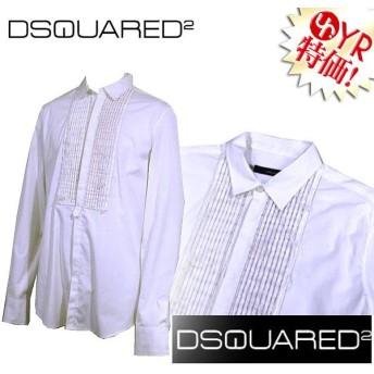 ディースクエアード DSQUARED アパレル Yシャツ 71DL060 35799 ホワイト×ゴールド フロントインボタン フリルギャザー Yシャツ 52,54 アウトレット メンズ