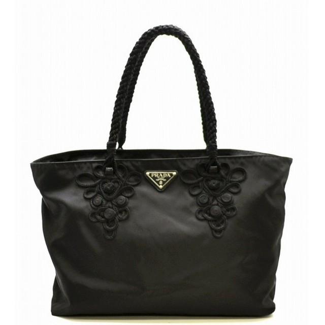 87baa716cdd8 (バッグ)PRADA プラダ ナイロン トートバッグ ショルダーバッグ ショルダートート 刺繍デザイン 黒 ブラック