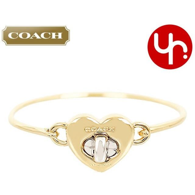 6bfbb7218617 コーチ COACH アクセサリー ブレスレット F54488 ゴールド×シルバー バレンタイン ターンロック ハート フリップ トップ バングル  アウトレット