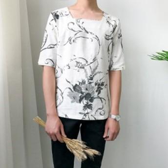 メンズ スクエアネック リネン 麻 デザインティーシャツ ハーフスリーブ チャイナシャツ チャイナ風 中国 和風 花柄 メンズ