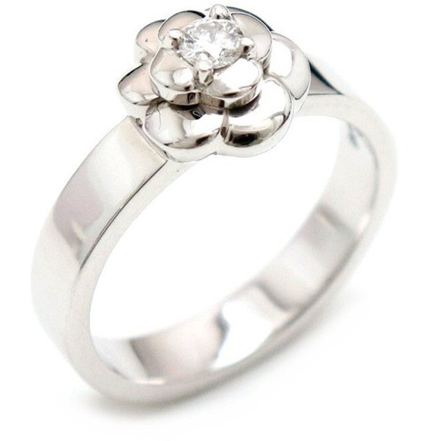 3777b90b0350 (ジュエリー)CHANEL シャネル カメリア リング 指輪 10号 #50 AU750 K18WG ホワイトゴールド