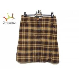 ナラカミーチェ スカート サイズO レディース ダークブラウン×ベージュ×ブルー チェック柄           スペシャル特価 20191028