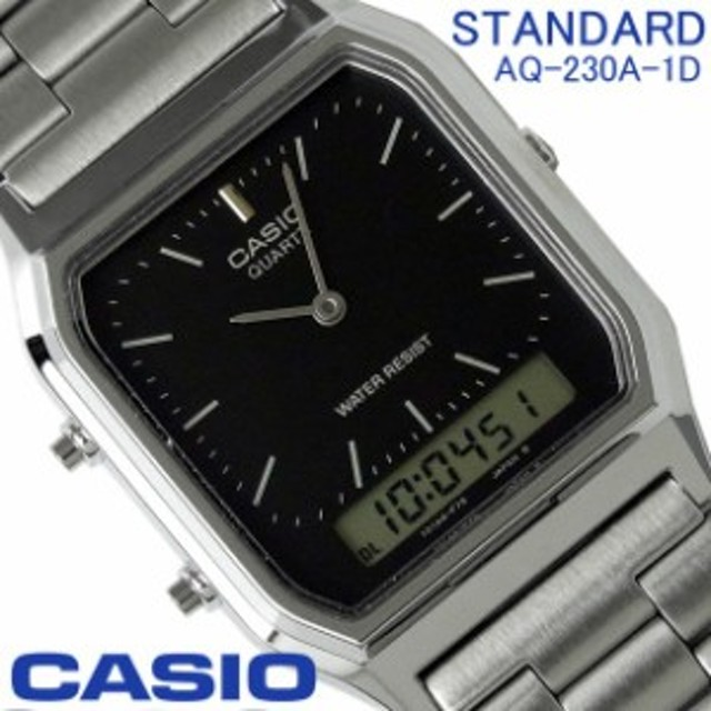 f7fef606fe カシオ CASIO スタンダード メンズ レディース アナデジ 腕時計 AQ-230A-1D シンプル シルバー×文字