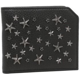 【送料無料】ジミーチュウ 財布 JIMMY CHOO ALBANY GRAINY CALF W CRYSTAL STARS アルバニー スタースタッズ メンズ 二つ折り財布 BLACK 黒 夏フェス 海 ビーチ