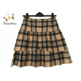 ヨークランド YORKLAND スカート サイズ11AR M レディース ベージュ×黒×マルチ チェック柄             スペシャル特価 20191011