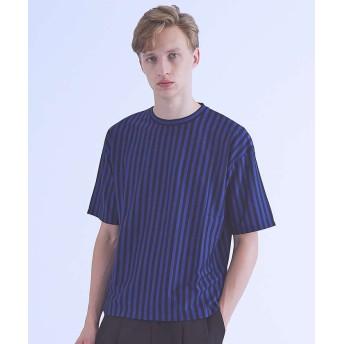 【30%OFF】 アバハウス ストライプオーバーサイズTシャツ メンズ ネイビー 44 【ABAHOUSE】 【セール開催中】