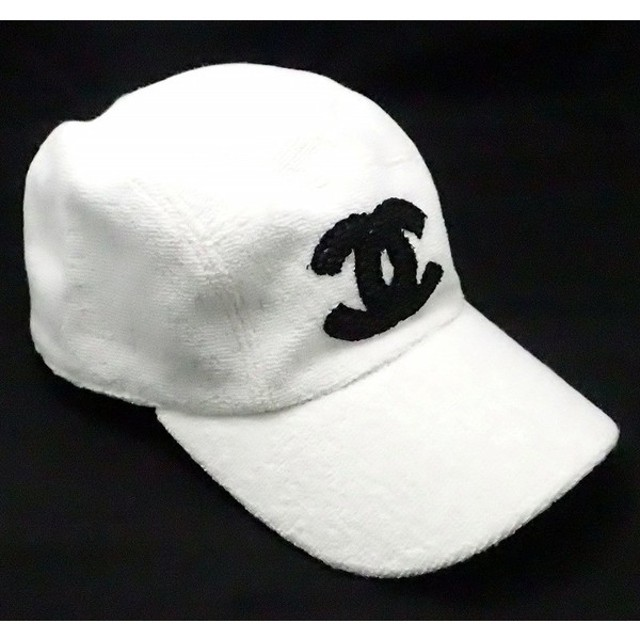 8dab768aeadd (アパレル)CHANEL シャネル キャップ 帽子 ココマーク コットン100% レザー 白 ホワイト ブラック