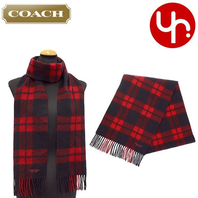 コーチ COACH アパレル マフラー F86538 ブラック×レッド マウント プラッド チェック マフラー アウトレット レディース