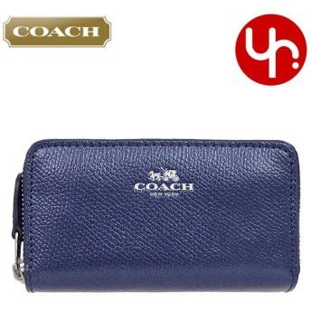 コーチ COACH 財布 コインケース F63921 メタリックミッドナイト クロスグレーン レザー スモール ダブル ジップ コインパース アウトレット レディース