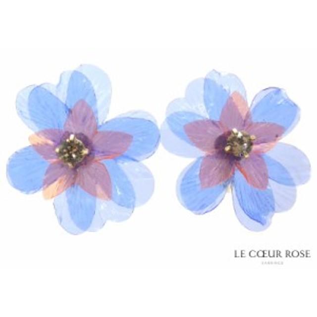 樹脂カバー付 透明感のある花びらとスワロフスキーが輝くネジバネ式イヤリング