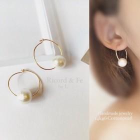 14kgf×Cotton pearl ︎hoop pierce