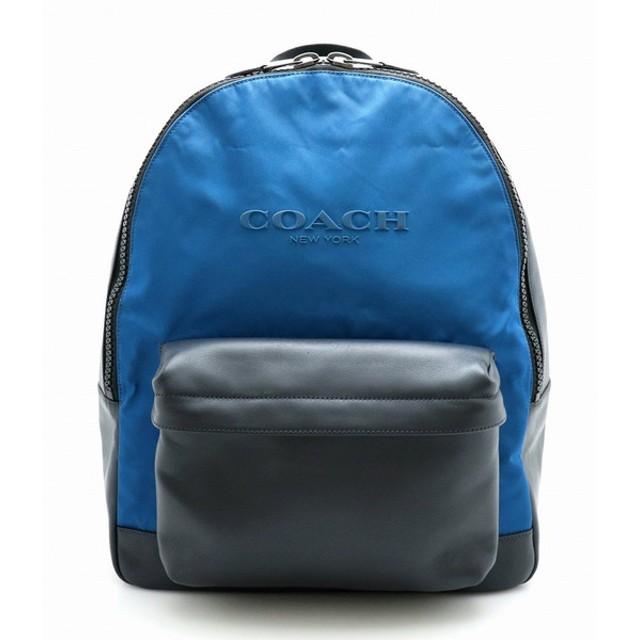 1197292f3676 (バッグ)COACH コーチ リュック リュックサック バックパック ショルダーバッグ レザー 黒 ブラック 青